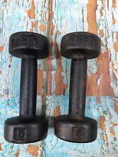 York Barbell Roundhead Dumbbell 5lb pair rare vintage PRE USA 5 lb pound