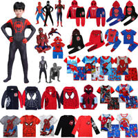 Kids Boys Spider Man Costume Jacket Hooded Sweatshirt T Shirt Pants Set Outfit