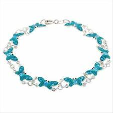 925 Silver Light Blue Enamel Butterfly Link Bracelet