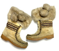 Dunhams Eskipades Womens 5 Vintage 60s Faux Fur Shearling Boots Snow Embroidered