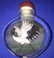 Fine Chinese Water Lily Bird Inside Hand Painted Glass Snuff Bottle:Gift Box