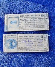 1942 THE JEFFERSONIAN Train Ticket 2 Checks Coach ID - Pennsylvania Railroad