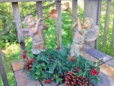 Baroque ANGELS Italian Cherubs GOLD HORNS TRUMPETS Sculpture Statue SET  ❤️J8
