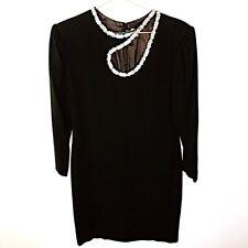 VINTAGE Jewel Studded Embellished Black Cutout 3/4 Sleeve Dress, Small / Medium
