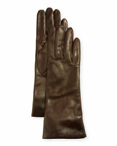 PORTOLANO BROWN FOUR BUTTONS LEATHER  GLOVES LINED SZ 6 1/2 BNWT $150