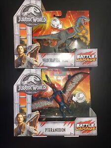 Jurassic World Velociraptor Blue & Pteranodon Battle Damage Dinosaur Figure NEW