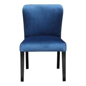 "22"" W Set of 2 Dining Chair Blue Velvet Solid Birch Wood Frame Black Finish"