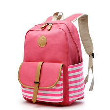DAMILY Cute Lightweight Canvas School Bag Casual Backpacks for Girls Pink