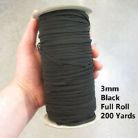 3MM BLACK  * FULL ROLL* 200 YARDS FLAT ELASTIC STRETCH MASK CHRISTMAS DECOR UK