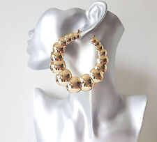 Gorgeous 8cm HUGE gold tone chunky round creole hoop earrings *Improved quality*