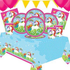 Unicorn Fun Party Kit 5 For 8 to 16 Children   Party Tableware And Decorations