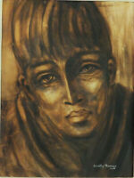 ca 1968 Listed Dorothy Thompson 'YOUNG MAN' Portrait Vintage Oil Painting