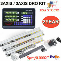 2 Axis/3 Axis Digital Readout,TTL Linear Glass Scale CNC Miling Lathe DRO Kit US