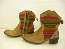 Womens 8 M Born Topanga Boots Tan Brown Leather Ankle Indian Blanket Zip Western