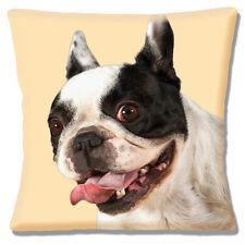 "NEW FRENCH BULLDOG close up head white black ON CREAM 16"" Pillow Cushion Cover"