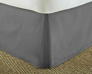 IENJOY King Bed Skirt Premium Collection Pleated Corners Hypoallergenic Gray