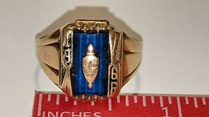 VINTAGE BALFOUR 10K YELLOW GOLD 1966 CLASS RING SIZE 8 1/4