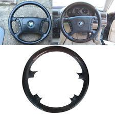 Black Leather Wood Steering Wheel Cover 96-03 BMW E38 E39 7 730 740 525 E46 E53