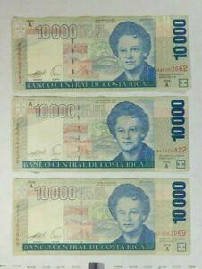 2005 & 2007  COSTA RICA 10000 COLONES 3 pc lot 30000 colones
