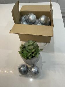 Home Reflections Set of 24 Christmas Baubles Two Tone Grey New Tree Decorations