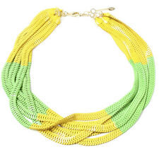NWT Amrita Singh Chelsea Large Multi Chain Yellow Green Bib Necklace NKC 2030