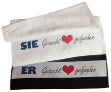 Partner Handtücher Sie & Er Gesucht und gefunden schwarz & weiß