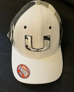 Zephyr Miami Hurricanes Canes WHITE GRAY CAMO Stretch Fit M/L Hat Ball Cap NCAA