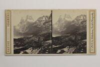 Suisse Il Wetterhorn Foto Savioz Stereo PL47 Vintage Albumina c1865