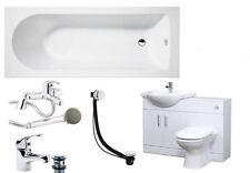 Bathroom Suite 1500mm Bath 550 Vanity Cabinet 500x300mm WC Unit BTW Pan Taps