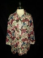 CHICO'S Size 3 16 18 XL Blouse Shirt Top Black Pink Floral 3/4th Sleeve Silk