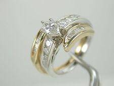2832 White Engagement & Yellow Wed Band Insert Ring 1.20ct TW Diamond 14K size 7