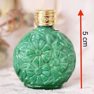 Boccetta porta profumo vintage in vetro verde per signora da borsetta collezione