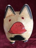 Primitive Folk Art Pig Piggy Bank Wood Wooden