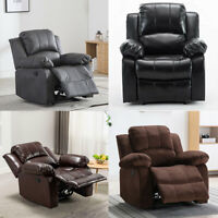 Heavy Duty Recliner Chair Manual Sofa Couch Leather & Velvet Lounge Padded Seat