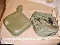 2 QUART MILITARY WATER CANTEEN Collapsible W/ COVER WITH BELT HOOKS - GREEN -