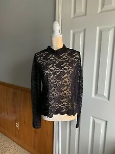 NEW! Hot Topic Long Sleeve Mock Neckline Lace Top Black Size 2 Plus