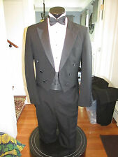 MENS VINTAGE PEAK LAPEL BLACK TAIL TUXEDO RAFFINATI 39R 4 PCS NB1