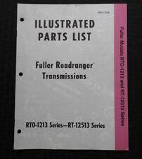 1971 FULLER RT-12513 RTO-1213 SERIES ROADRANGER TRANSMISSION PART CATALOG MANUAL