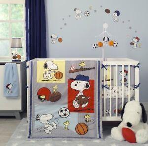 Snoopy Sports Peanuts 3 Pc Crib Set Woodstock Football Soccer Baseball ~ NEW!!