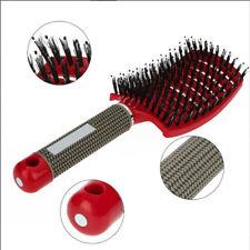 Femme Poils Sanglier Brosse Cheveux Anti-statique Peigne Massage Soin Salon Neuf