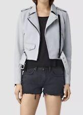 Bnwt Allsaints Baron Biker Leather Jacket.uk 8.£328.sky Blue