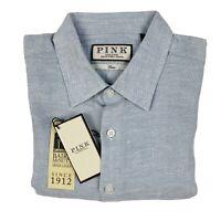 THOMAS PINK Grey Patterned, Long-Sleeved, 100% Linen Oxford Shirt (UK XS-XXL)