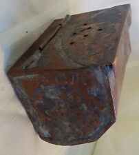 ANTIQUE Country PRIMITIVE Fishing BAIT BOX Hand Made FOLK ART Copper