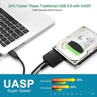 """SATA to USB Adapter USB3.0 to Sata 3 Cable for 2.5"""" 3.5"""" Hard Disk Drive Black"""