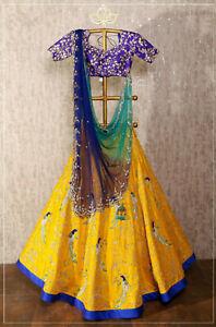 Latest Indian Designer Lehenga Choli Women Wedding Wear Party Yellow Lehnga Suit