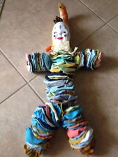 Handmade doll, clown Quilted material 1960-70s