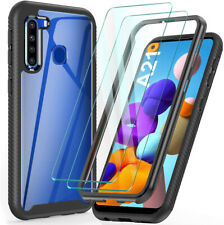 For Samsung Galaxy A21 Case Clear Hybrid Armor Cover W/ Glass Screen Protector