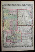 Colorado Wyoming Montana North & South Dakota 1874 Mitchell map