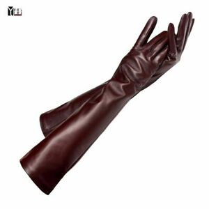 Women Sheepskin Leather Gloves Lady Winter Fashion Long Style Arm Sleeve Mitten
