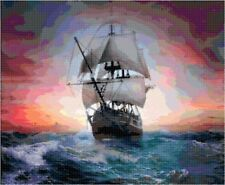 Cross Stitch Chart Pattern Clipper Ship (11) Needlework Picture Design Craft